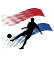 netherlands soccer player against national flag vector image vector image