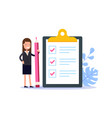 positive business woman with a giant pencil nearby vector image vector image