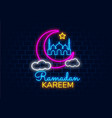 ramadan kareem banner in neon style night bright vector image vector image