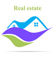real estate logo with shadow vector image vector image