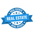 real estate ribbon real estate round blue sign vector image vector image