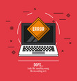 red background poster with laptop and error oops vector image