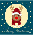 reindeer santa with red scarf vector image vector image