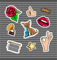 retro quirky style stickers set vector image vector image