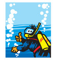 scuba diving cheerful diver deep in the sea vector image vector image