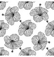 seamless background outline hibiscus vector image vector image