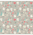 Seamless pattern with cute Christmas baby fox vector image vector image