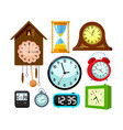set clocks icons isolated on white background vector image