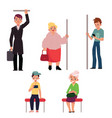 set of people sitting and standing in subway train vector image vector image