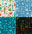 Set of seamless cartoon marine patterns vector image vector image
