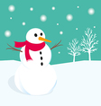 Snowman in winter Xmas vector image