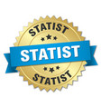 statist round isolated gold badge vector image vector image
