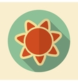 Sun retro flat icon with long shadow vector image