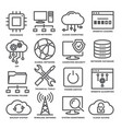 technology line icons set on white background vector image vector image