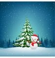 The Christmas snowman and spruce vector image