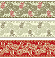 three colored ornamental seamless pattern stripes vector image vector image