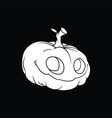 white drawing of a smiling pumpkin on a black vector image