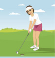 young woman playing golf preparing to shot vector image vector image