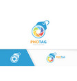 camera shutter and tag logo combination vector image