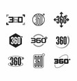 360 degrees view sign icons set vector image vector image