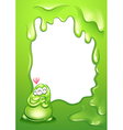 A border template with a green monster and a heart vector image vector image