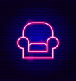 armchair neon sign vector image