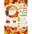 autumn sale banner with fall season leaf frame vector image vector image