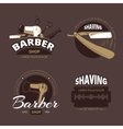 Barber shop and shave vintage logo labels vector image vector image