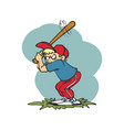 base ball players are hitting cartoon vector image vector image