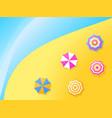 beach umbrellas on shore top view gradient vector image vector image