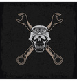 biker theme grunge label with skull and wrenches vector image vector image