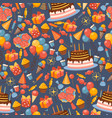 birthday icons in seamless pattern vector image