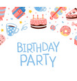 birthday party banner template with cute sweets vector image vector image