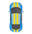 blue and yellow sport car top view in flat style vector image vector image