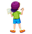 Boy writing vector image vector image