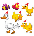 Christmas theme with ducks and presents vector image vector image