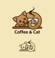 coffee and cat concept emblem vector image vector image