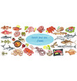 colorful drawing marine food collection vector image vector image