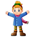 cute girl wearing winter clothes waving vector image vector image