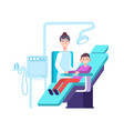 dentist and kid patient doctor exams childs teeth vector image