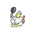 Fat Buddha Chef Cook Sitting Cartoon vector image vector image