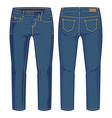 front and back view of denim pants vector image vector image