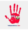 Handprint with the Bermuda flag in grunge style vector image vector image