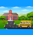 happy children going to school with school bus vector image vector image