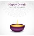 happy diwali diya candle card for hindu festival vector image vector image
