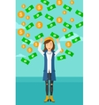 Happy woman with flying money vector image vector image