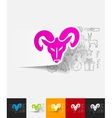 head of the ram paper sticker with hand drawn vector image