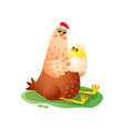hen sitting with small hatched chick in egg vector image vector image