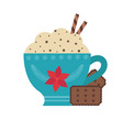 hot chocolate in cup and cookies icon vector image