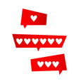 icon like icon followers hearts set vector image